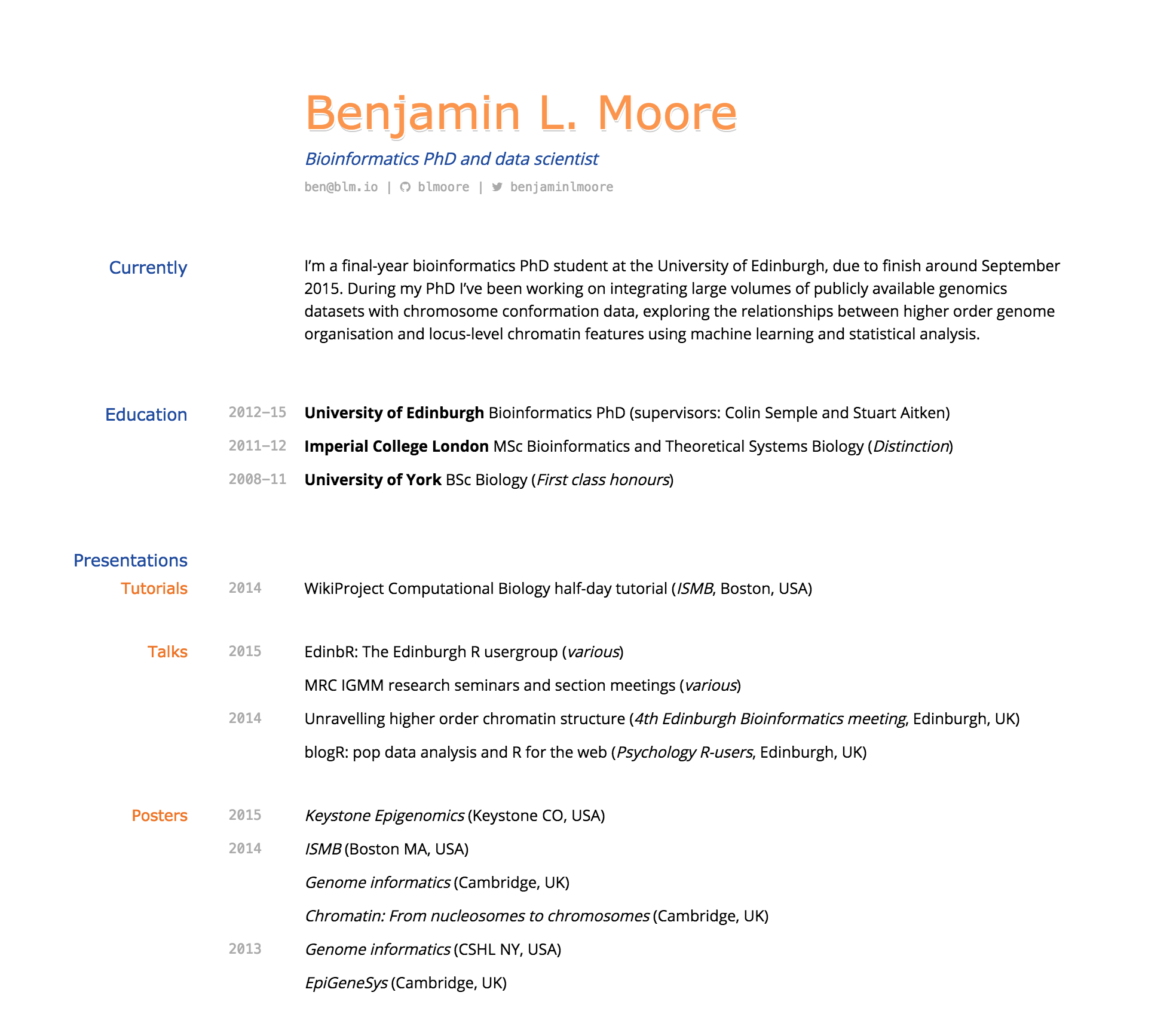 building an academic cv in markdown middot io i like the whitespace and clear separation of headings dates and details the underlying css layout has some technical issues the relative positions can