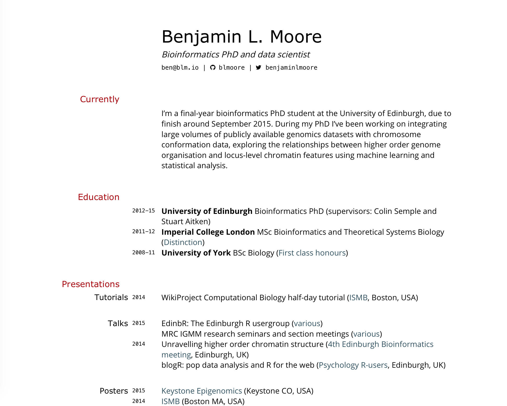 Building An Academic CV In Markdown · Blm.io  Cv Document