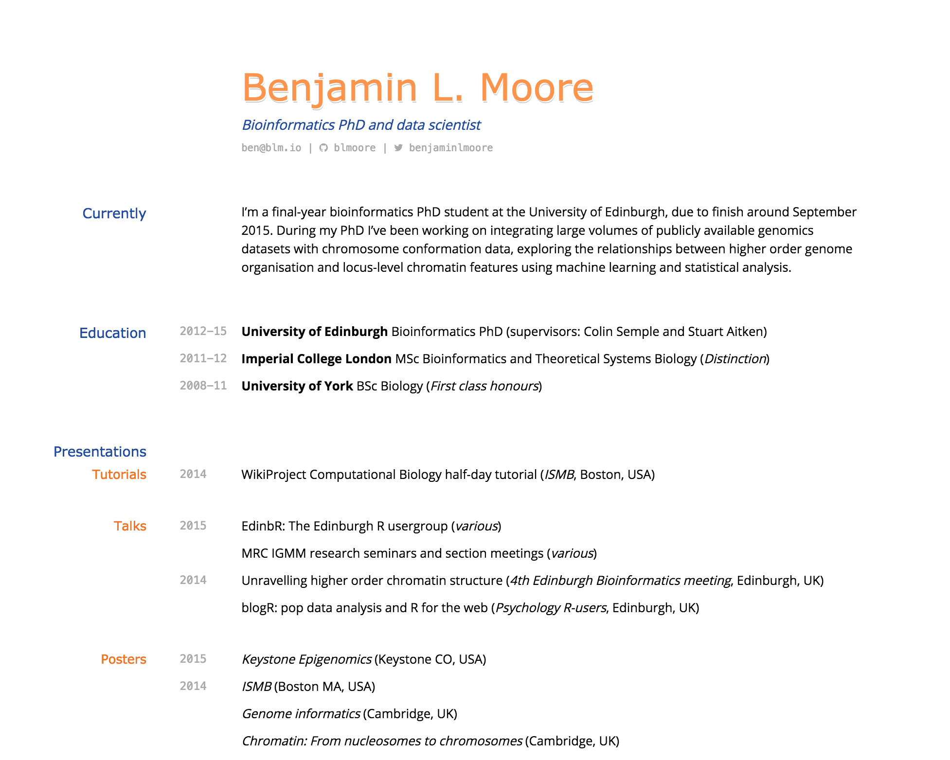 building an academic cv in markdown · blm